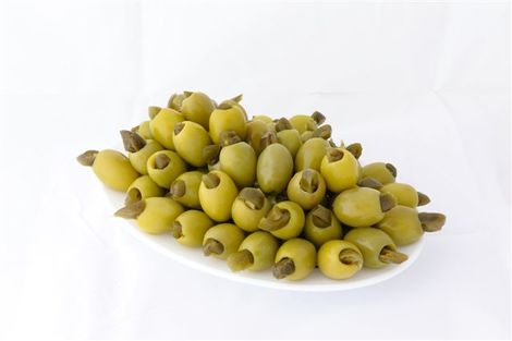 Green stuffed olives with jalapeno