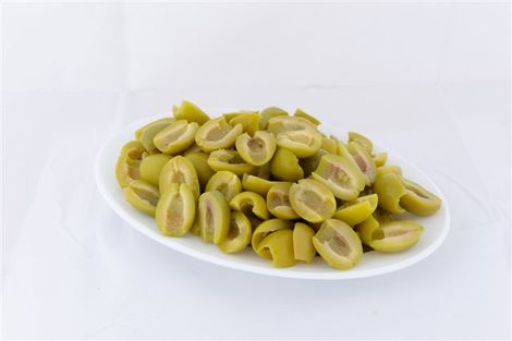 Green Halkidikis halves olives