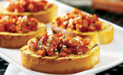 Bruschetta with feta cheese, tomato and olives