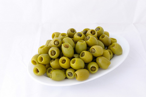 Green stuffed olives with caper