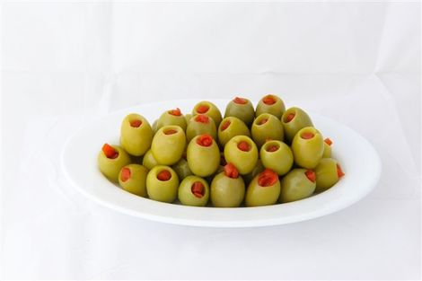 Green stuffed olives with pimiento
