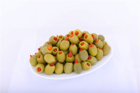Green stuffed olives with chili pepper