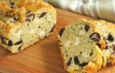 Cake with feta, olives & herbs