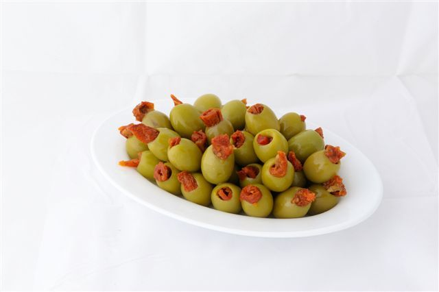 Green stuffed olives with sundried tomato