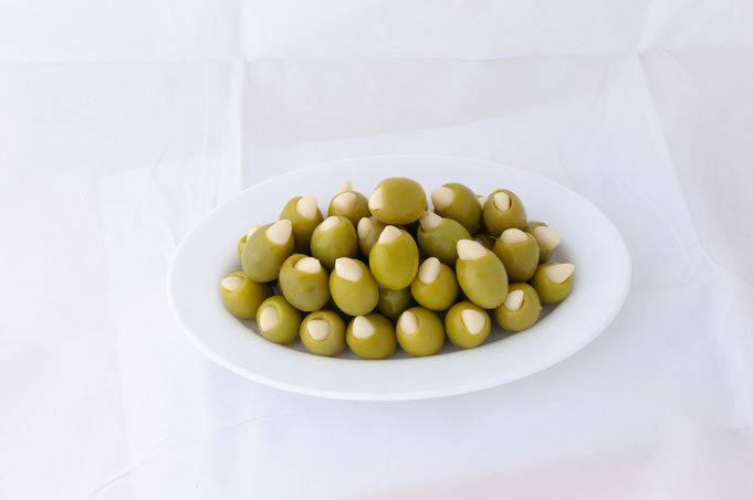 Green stuffed olives with garlic